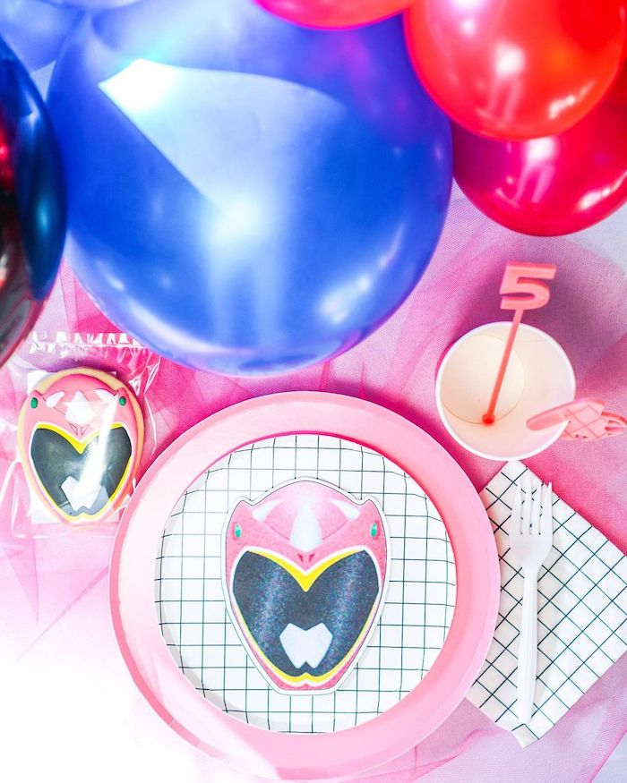 Pink Ranger Table Setting from a Power Rangers Birthday Party on Kara's Party Ideas | KarasPartyIdeas.com (20)