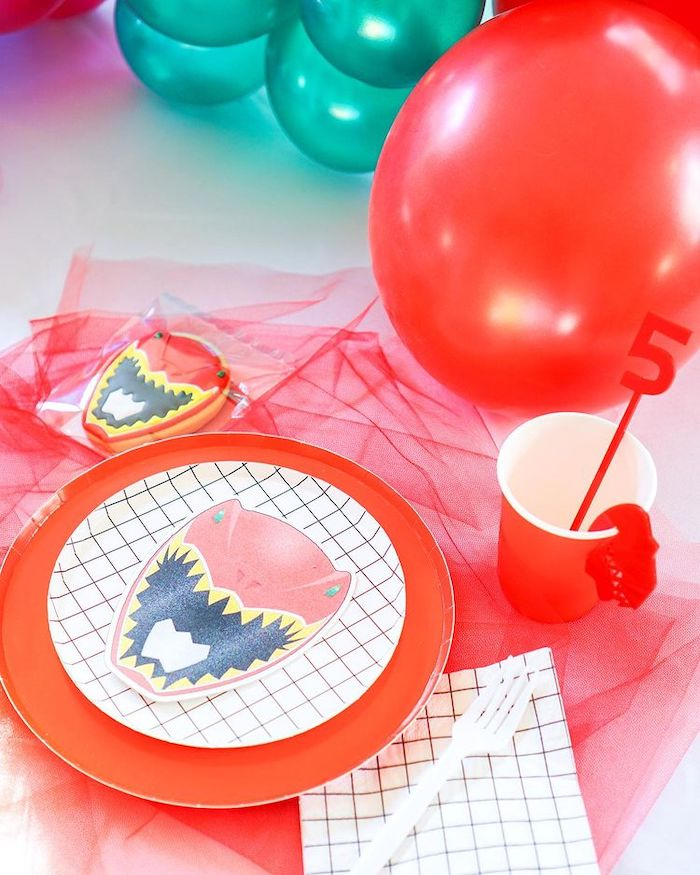 Red Ranger Table Setting from a Power Rangers Birthday Party on Kara's Party Ideas | KarasPartyIdeas.com (19)