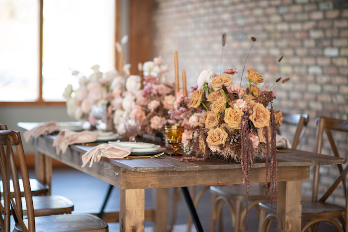 Rustically Elegant Guest Table from a Rustic Floral Teddy Bear Baby Shower on Kara's Party Ideas | KarasPartyIdeas.com (31)