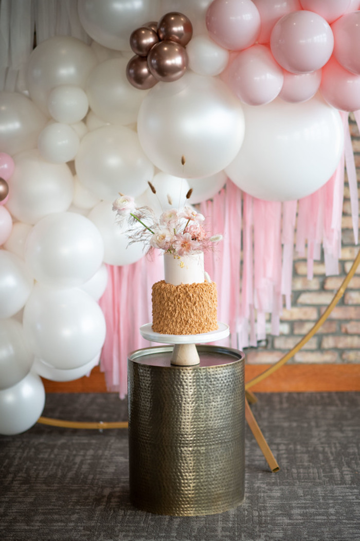 Wire Frame + Balloon Install Cake Backdrop from a Rustic Floral Teddy Bear Baby Shower on Kara's Party Ideas | KarasPartyIdeas.com (28)
