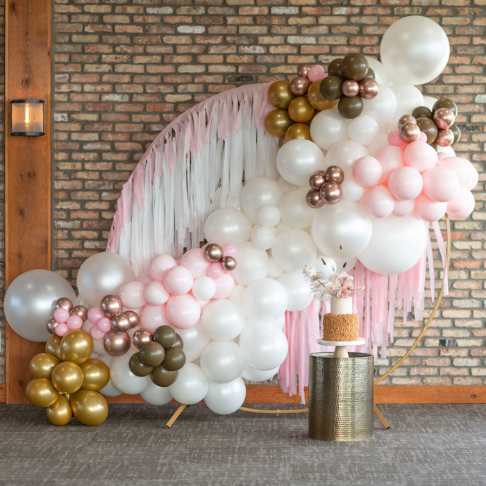 Wire Frame + Balloon Install Cake Backdrop from a Rustic Floral Teddy Bear Baby Shower on Kara's Party Ideas | KarasPartyIdeas.com (27)