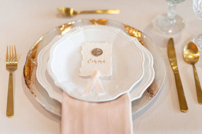Chic White + Pink + Gold Table Setting from a Rustic Floral Teddy Bear Baby Shower on Kara's Party Ideas | KarasPartyIdeas.com (15)