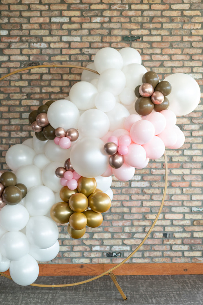 Wire Frame Balloon Backdrop from a Rustic Floral Teddy Bear Baby Shower on Kara's Party Ideas | KarasPartyIdeas.com (42)