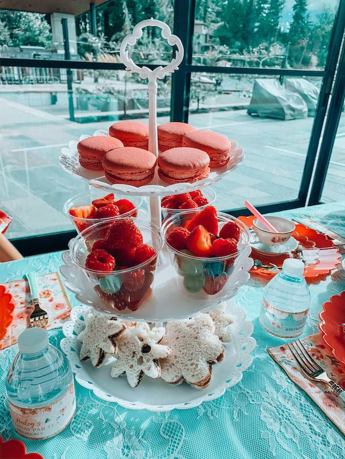 Sandwiches, fruit cups and macarons from a Spa Birthday Tea Party on Kara's Party Ideas | KarasPartyIdeas.com (7)