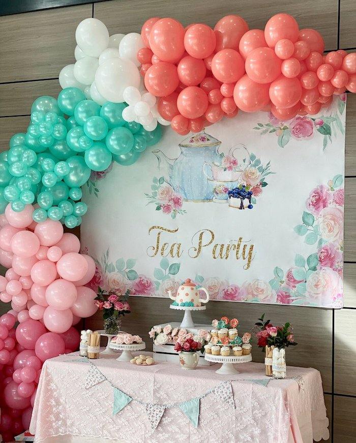 Tea Party Dessert Table from a Spa Birthday Tea Party on Kara's Party Ideas | KarasPartyIdeas.com (24)