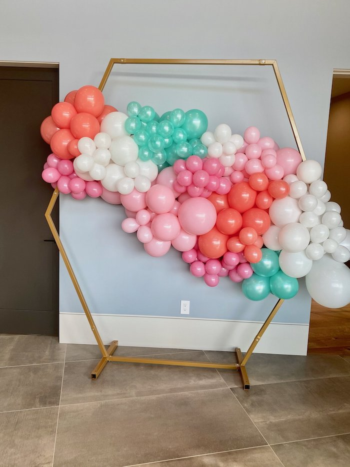 Geometric Balloon Install from a Spa Birthday Tea Party on Kara's Party Ideas | KarasPartyIdeas.com (22)