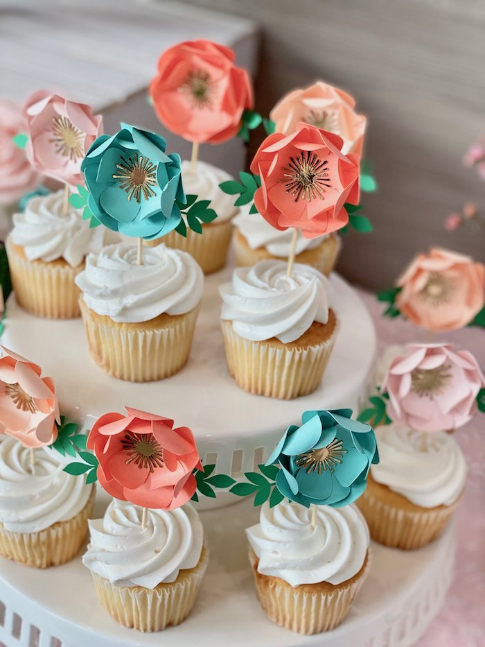 Paper Flower-topped Cupcakes from a Spa Birthday Tea Party on Kara's Party Ideas | KarasPartyIdeas.com (21)
