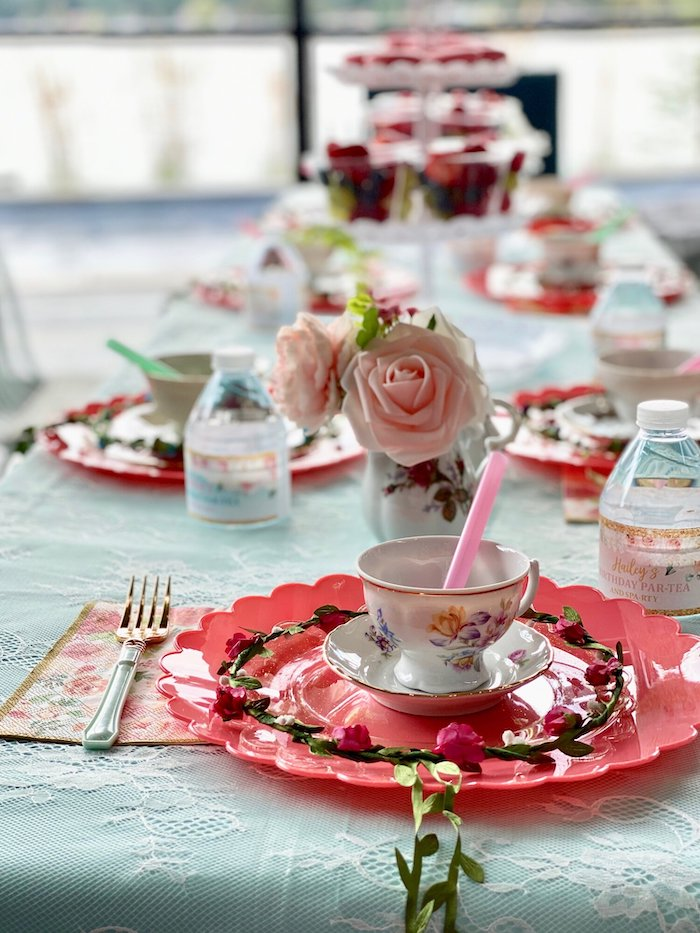 Tea Party Table Setting from a Spa Birthday Tea Party on Kara's Party Ideas | KarasPartyIdeas.com (20)