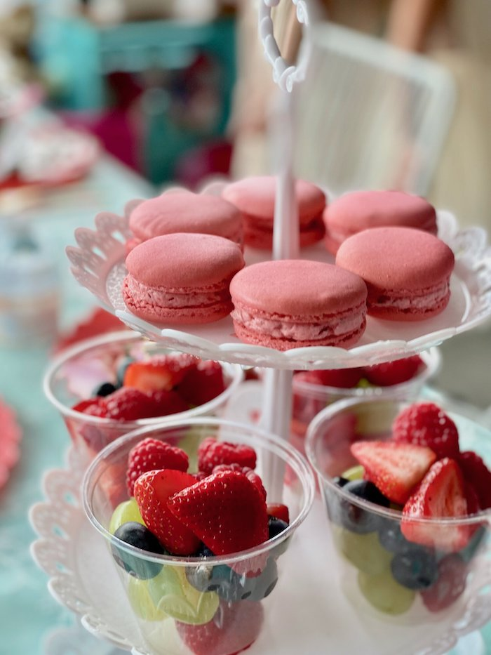 Macarons & Fruit Cups from a Spa Birthday Tea Party on Kara's Party Ideas | KarasPartyIdeas.com (19)