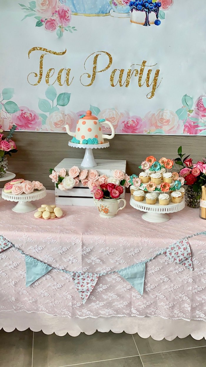 Tea Party Themed Dessert Table from a Spa Birthday Tea Party on Kara's Party Ideas | KarasPartyIdeas.com (18)