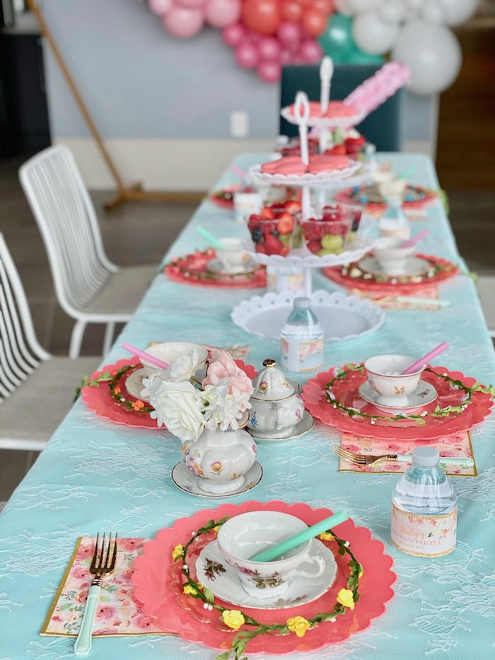 Tea Party Table from a Spa Birthday Tea Party on Kara's Party Ideas | KarasPartyIdeas.com (17)