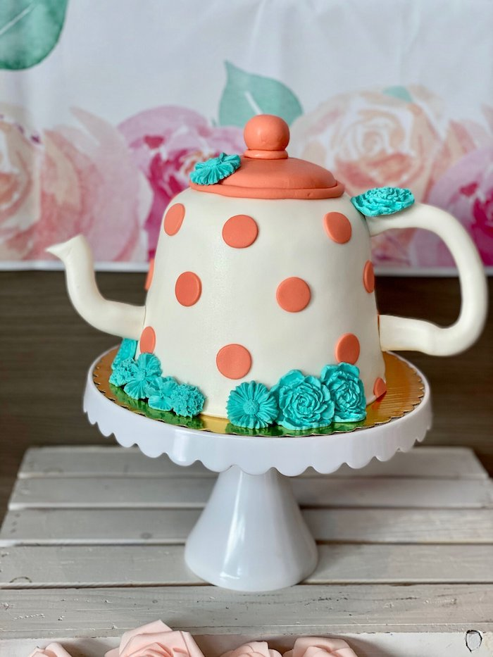 Tea Kettle Cake from a Spa Birthday Tea Party on Kara's Party Ideas | KarasPartyIdeas.com (16)