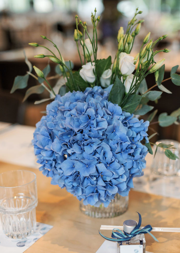 Blue Floral Arrangement from a Sweet Blue Christening Party on Kara's Party Ideas | KarasPartyIdeas.com (33)