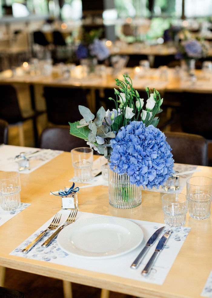 Blue Balloon-inspired Table Setting from a Sweet Blue Christening Party on Kara's Party Ideas | KarasPartyIdeas.com (30)