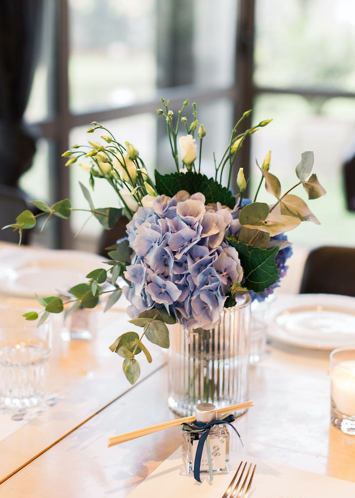 Blue Floral Arrangement from a Sweet Blue Christening Party on Kara's Party Ideas | KarasPartyIdeas.com (29)