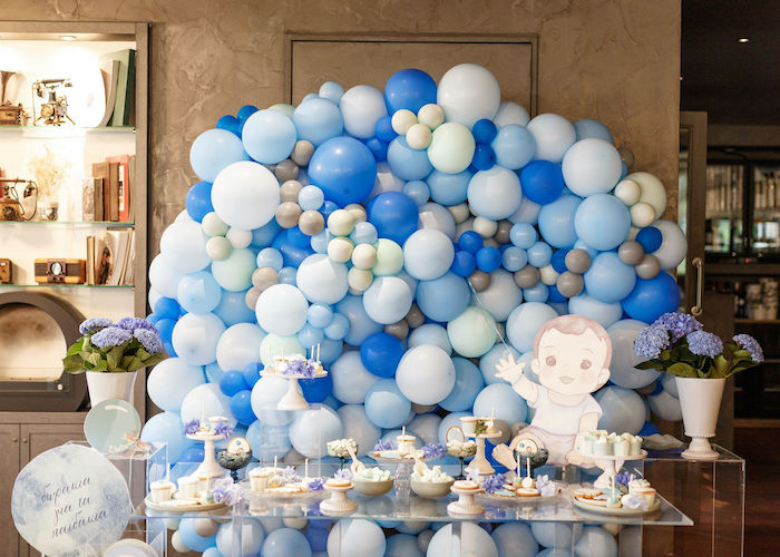 Balloon Themed Dessert Table from a Sweet Blue Christening Party on Kara's Party Ideas | KarasPartyIdeas.com (25)