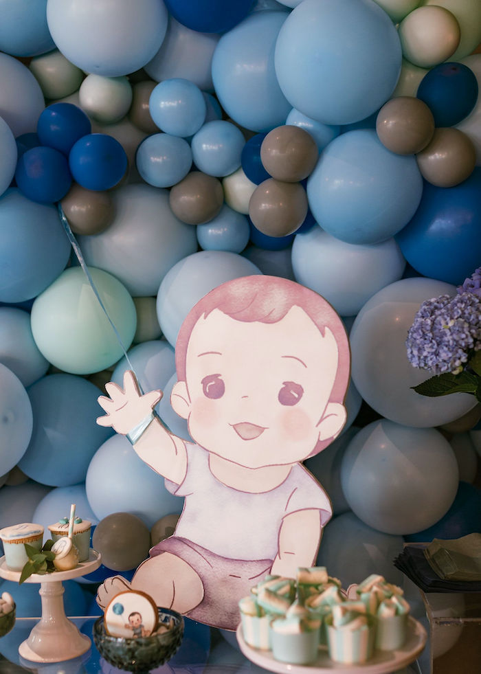 Custom Baby Table Standee + Prop from a Sweet Blue Christening Party on Kara's Party Ideas | KarasPartyIdeas.com (24)