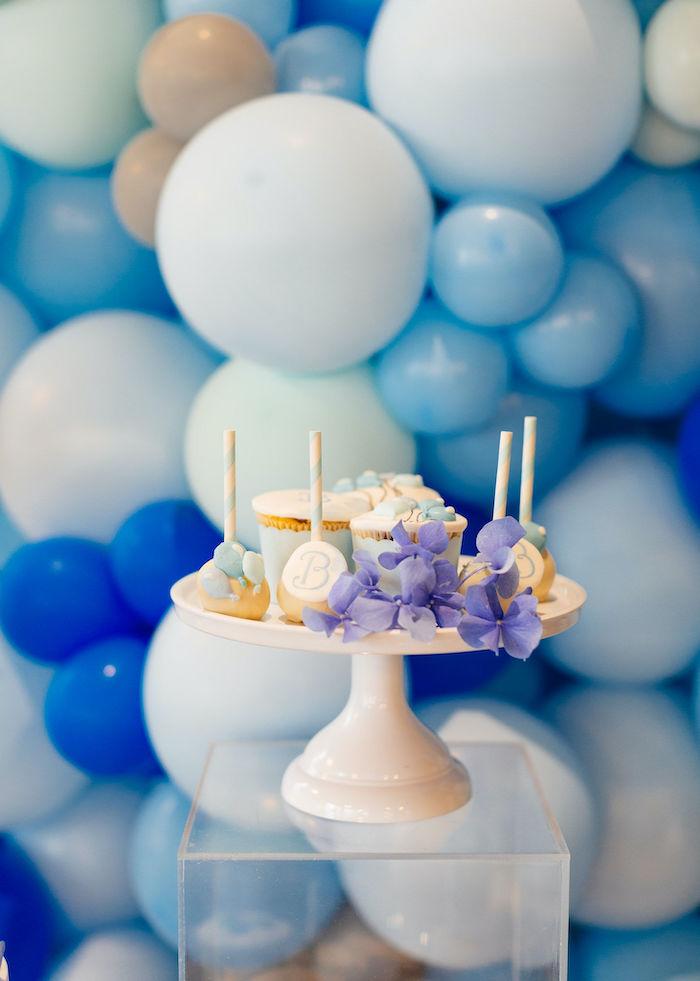 Dessert Pedestal from a Sweet Blue Christening Party on Kara's Party Ideas | KarasPartyIdeas.com (23)