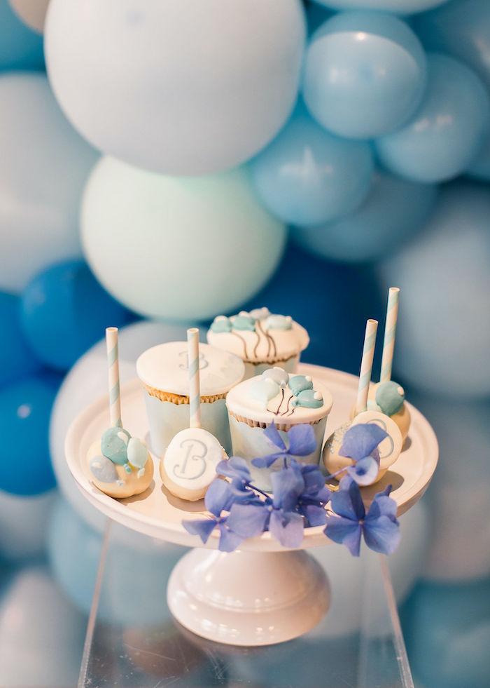 Balloon-inspired Dessert Pedestal from a Sweet Blue Christening Party on Kara's Party Ideas | KarasPartyIdeas.com (22)