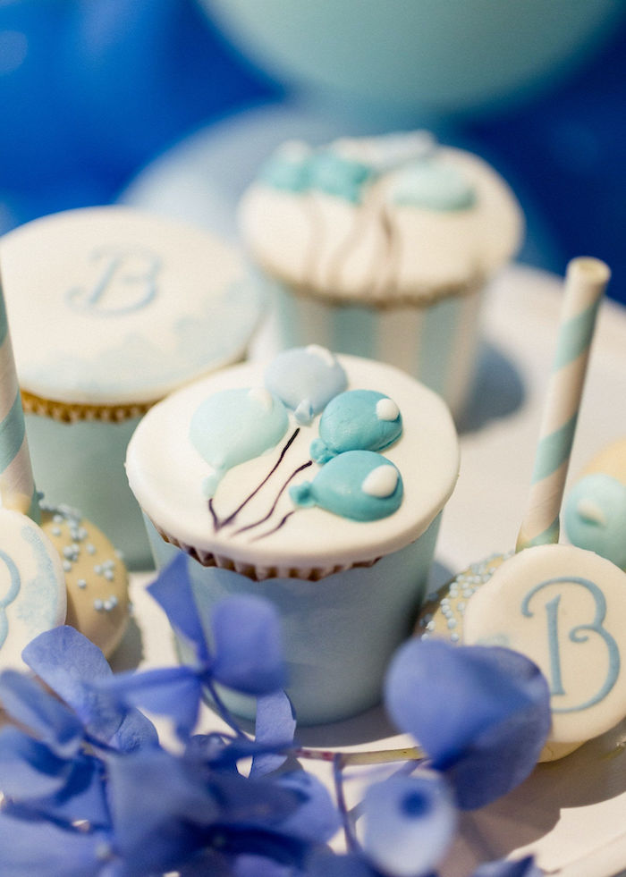 Balloon Bunch Cupcake from a Sweet Blue Christening Party on Kara's Party Ideas | KarasPartyIdeas.com (21)