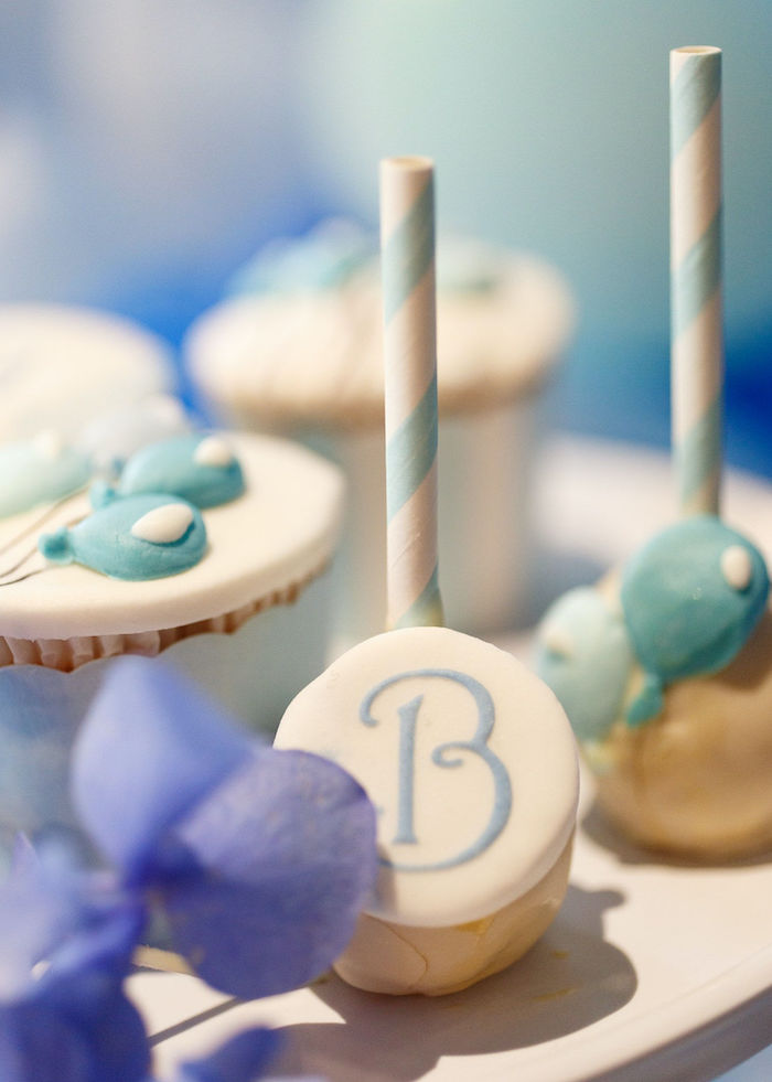 """B"""" Cake Pop from a Sweet Blue Christening Party on Kara's Party Ideas 