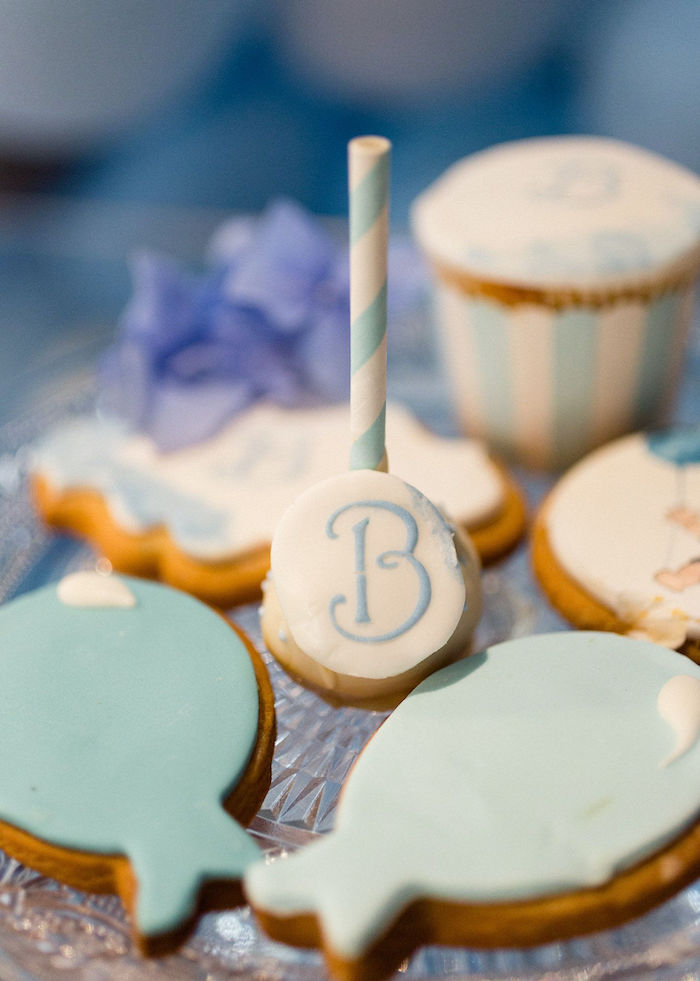 """Balloon Cookies + """"B"""" Cake Pop from a Sweet Blue Christening Party on Kara's Party Ideas 