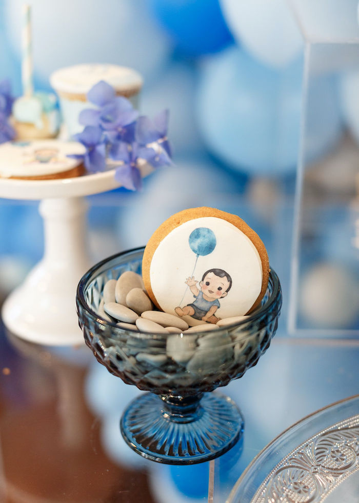 Custom Cookie from a Sweet Blue Christening Party on Kara's Party Ideas | KarasPartyIdeas.com (18)