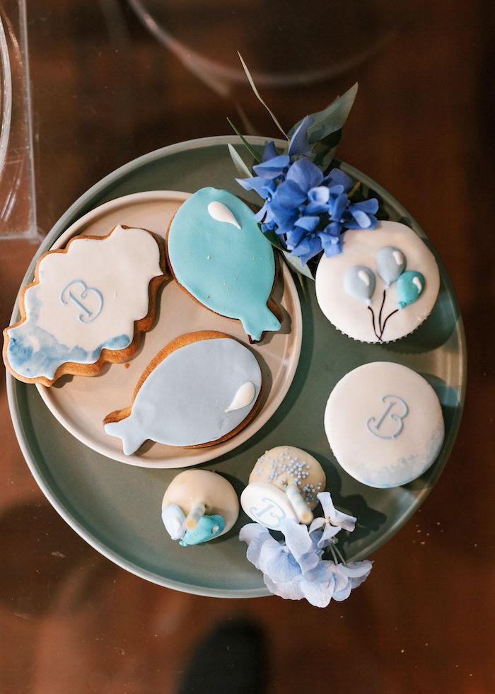 Dessert Pedestal from a Sweet Blue Christening Party on Kara's Party Ideas | KarasPartyIdeas.com (15)
