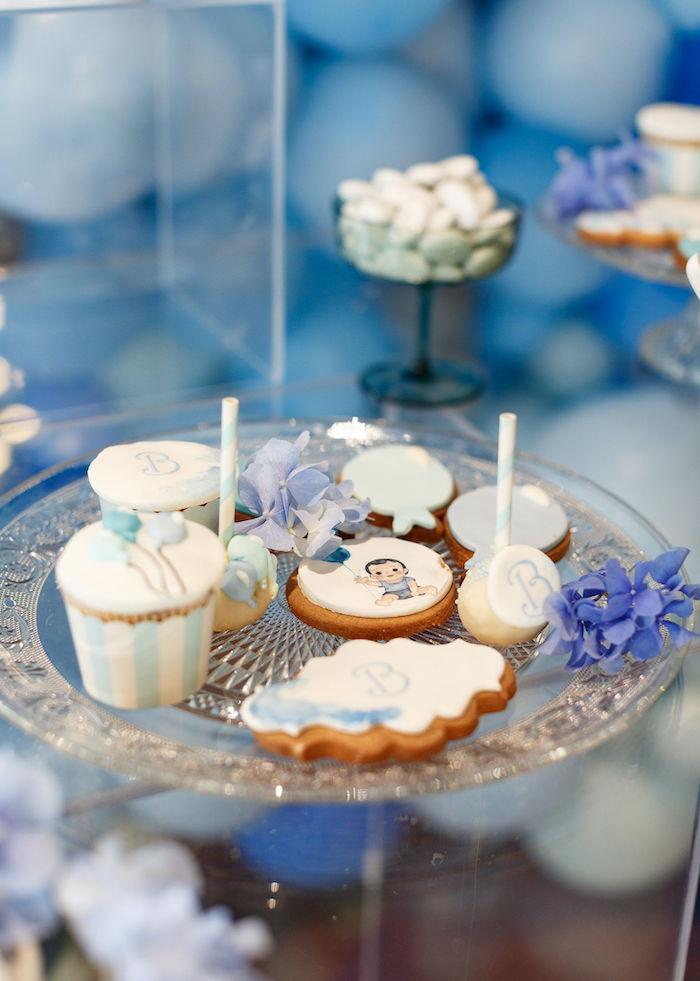 Dessert Pedestal from a Sweet Blue Christening Party on Kara's Party Ideas | KarasPartyIdeas.com (14)