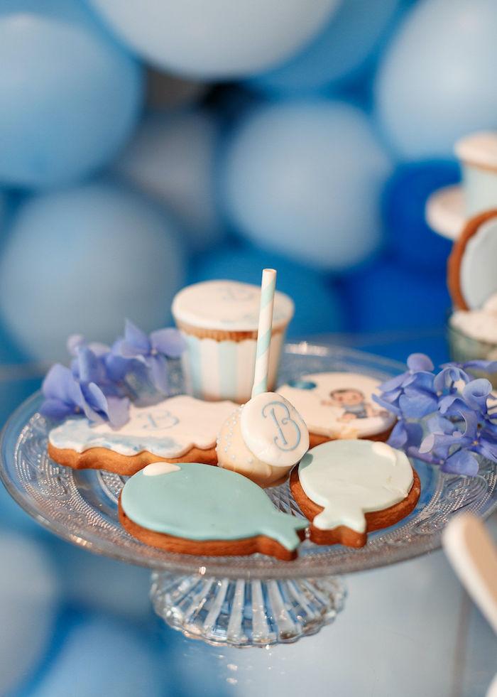 Dessert Pedestal from a Sweet Blue Christening Party on Kara's Party Ideas | KarasPartyIdeas.com (13)