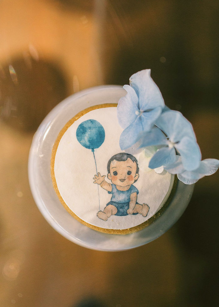 Custom Baby + Balloon Cookie from a Sweet Blue Christening Party on Kara's Party Ideas | KarasPartyIdeas.com (8)