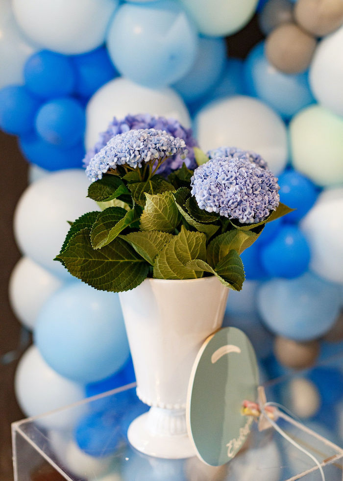 Blue Floral Arrangement from a Sweet Blue Christening Party on Kara's Party Ideas | KarasPartyIdeas.com (7)