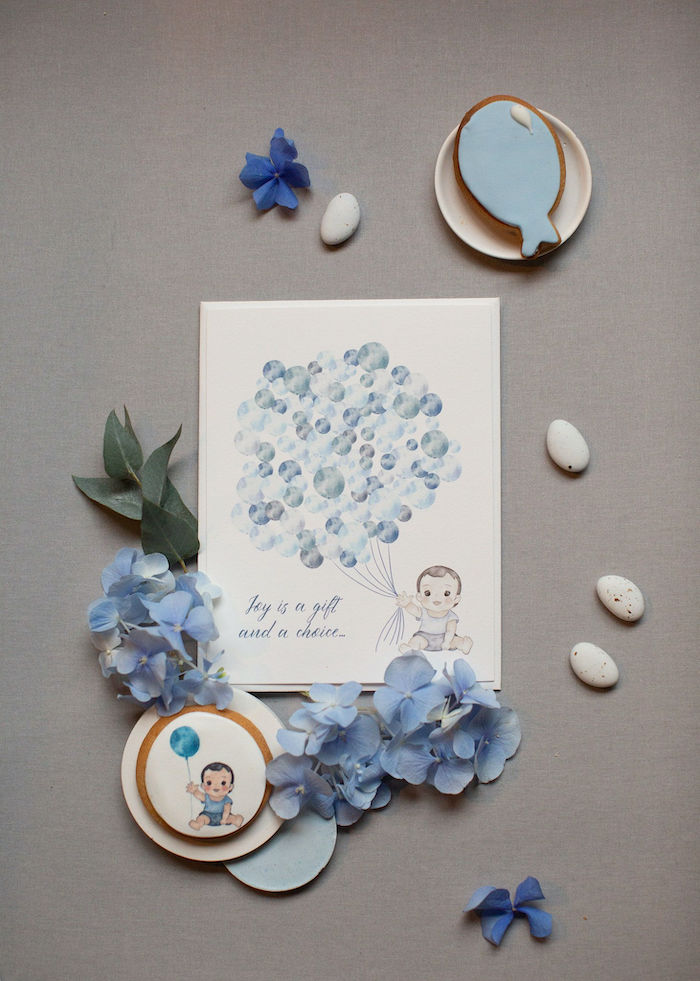 Custom Baby + Balloon Print + Signage from a Sweet Blue Christening Party on Kara's Party Ideas | KarasPartyIdeas.com (5)