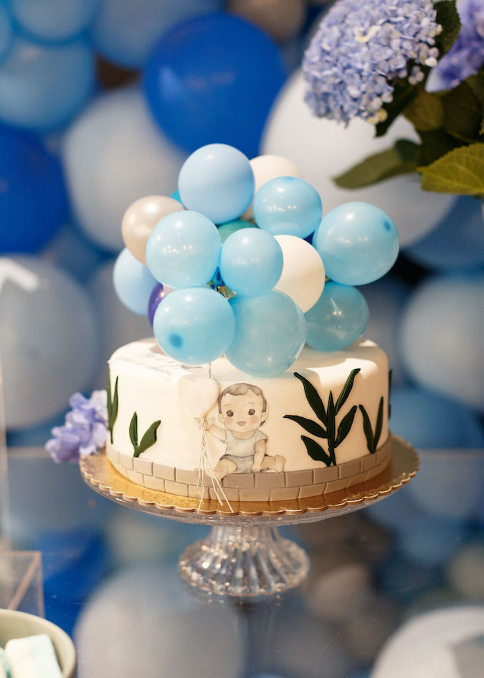 Custom Baby Blue Christening Cake from a Sweet Blue Christening Party on Kara's Party Ideas | KarasPartyIdeas.com (4)