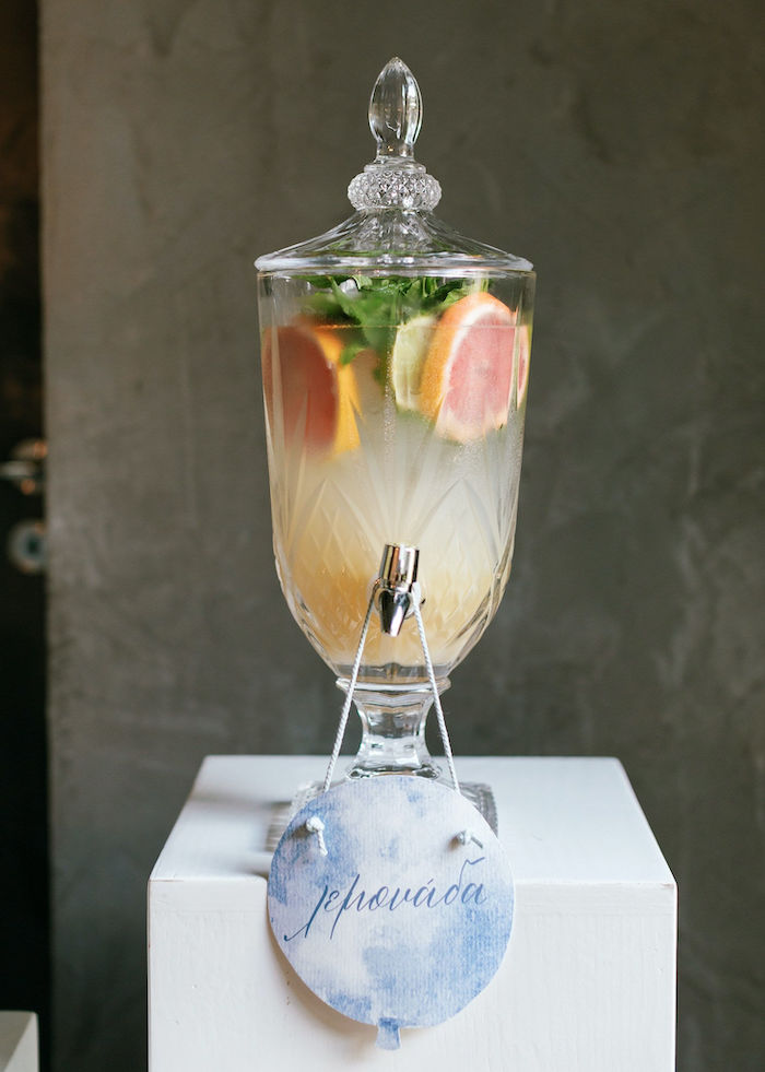 Beverage Dispenser from a Sweet Blue Christening Party on Kara's Party Ideas | KarasPartyIdeas.com (40)