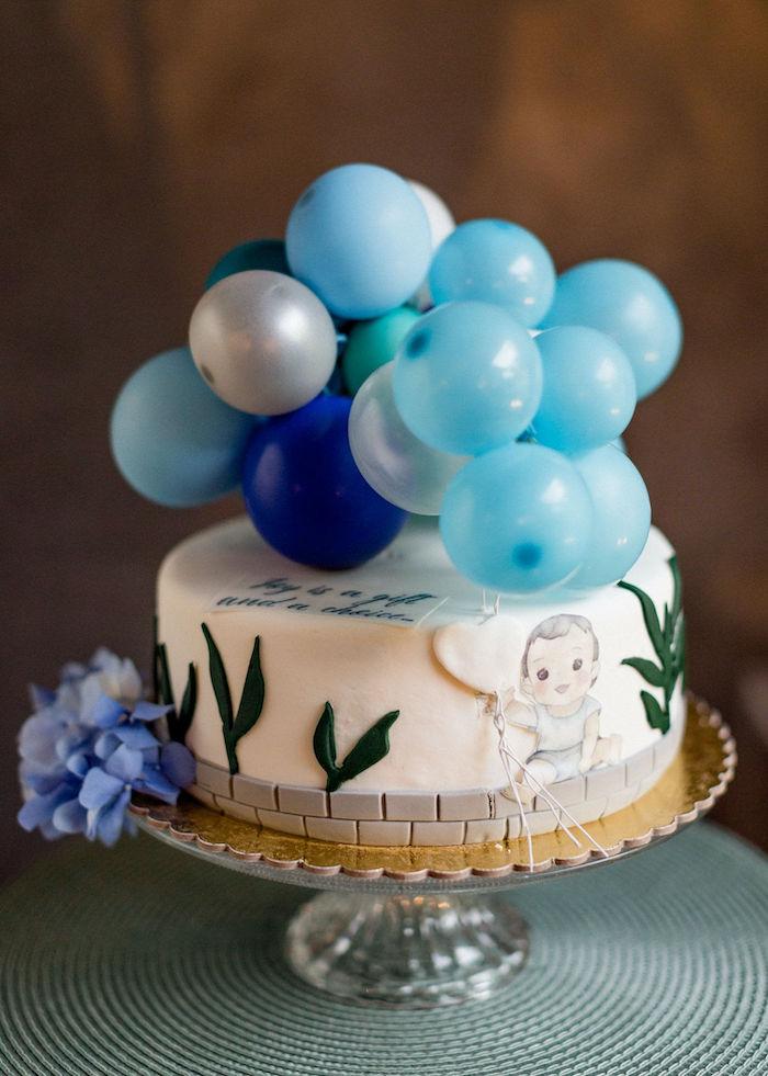 Custom Baby Blue Christening Cake from a Sweet Blue Christening Party on Kara's Party Ideas | KarasPartyIdeas.com (3)