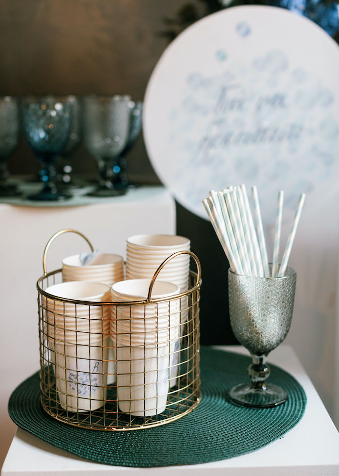 Cups + Straws from a Sweet Blue Christening Party on Kara's Party Ideas | KarasPartyIdeas.com (39)