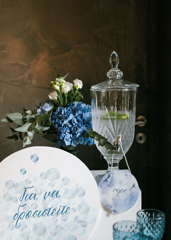 Beverage Table from a Sweet Blue Christening Party on Kara's Party Ideas | KarasPartyIdeas.com (37)