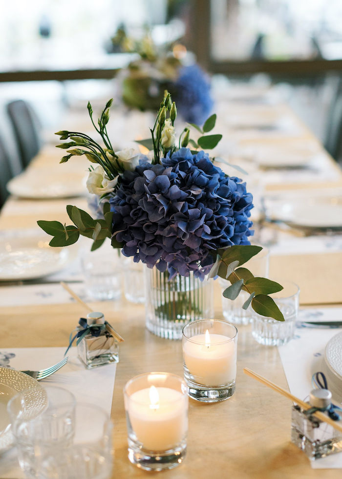 Blue Floral Arrangement + Table Centerpiece from a Sweet Blue Christening Party on Kara's Party Ideas | KarasPartyIdeas.com (34)