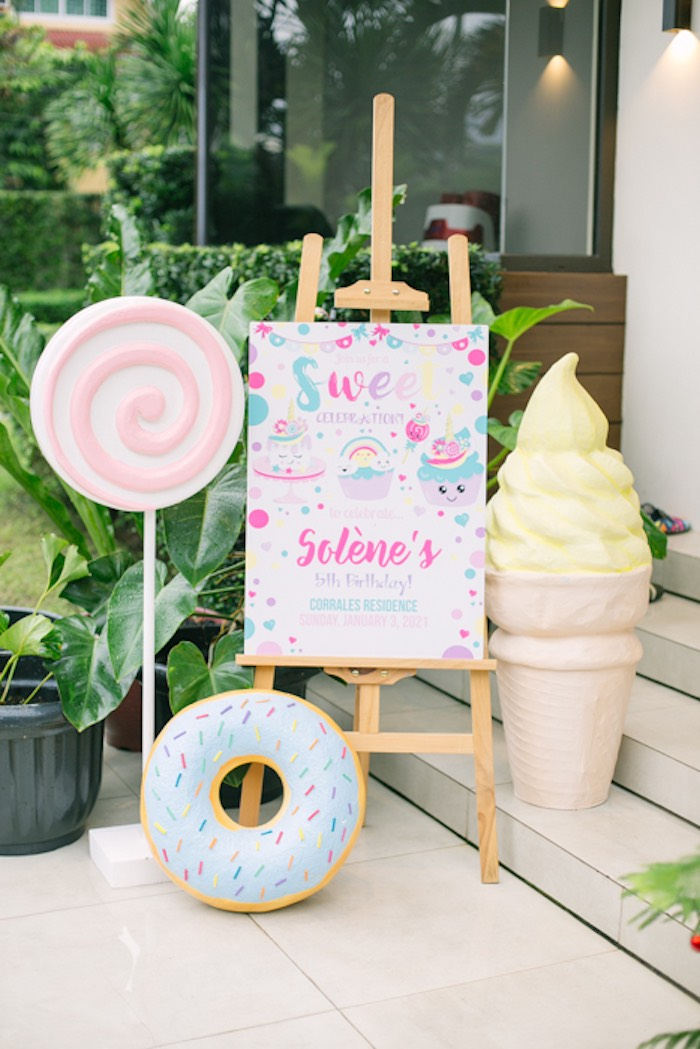 Sweets Themed Welcome Sign from a Sweets & Unicorns Birthday Party on Kara's Party Ideas | KarasPartyIdeas.com (14)