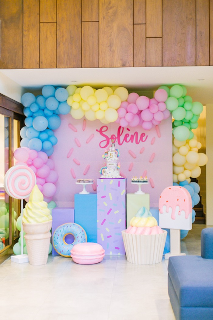 Sweets Themed Dessert Spread from a Sweets & Unicorns Birthday Party on Kara's Party Ideas | KarasPartyIdeas.com (13)