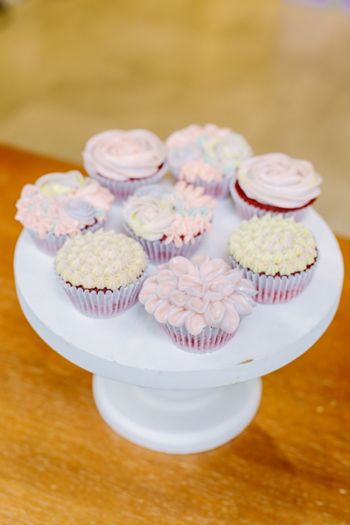 Flower Cupcakes from a Sweets & Unicorns Birthday Party on Kara's Party Ideas | KarasPartyIdeas.com (10)