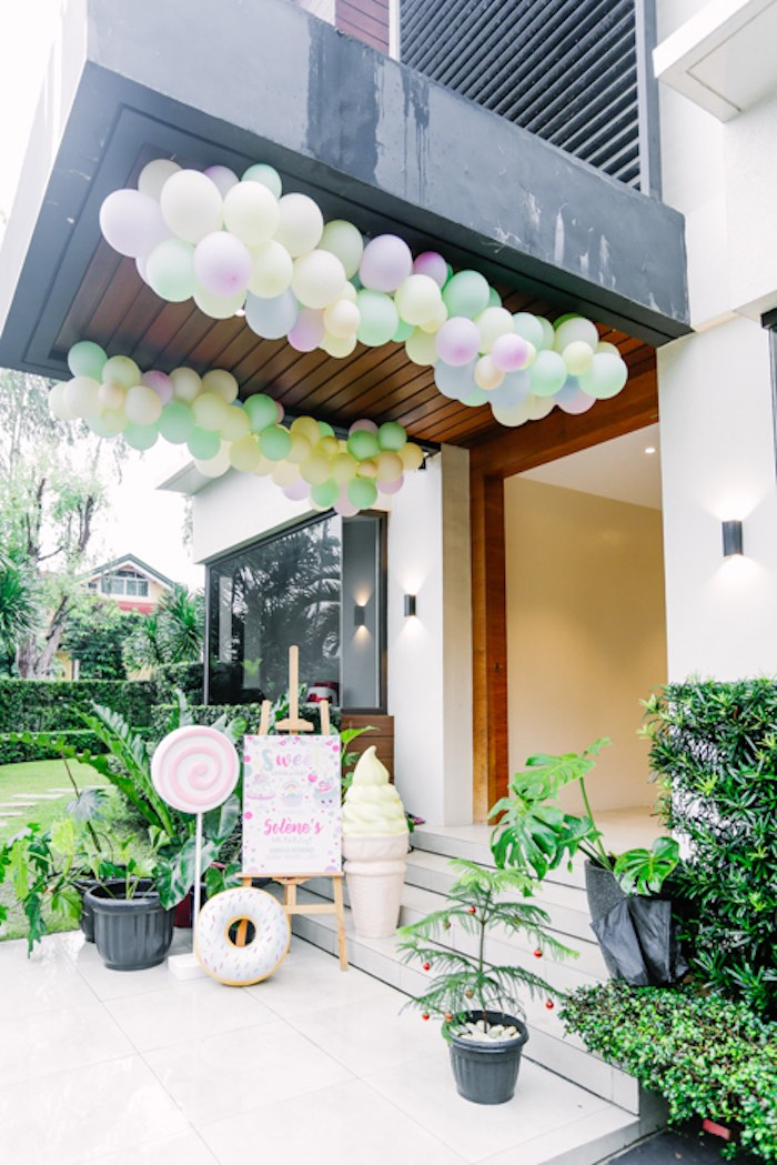 Party Entrance from a Sweets & Unicorns Birthday Party on Kara's Party Ideas | KarasPartyIdeas.com (22)