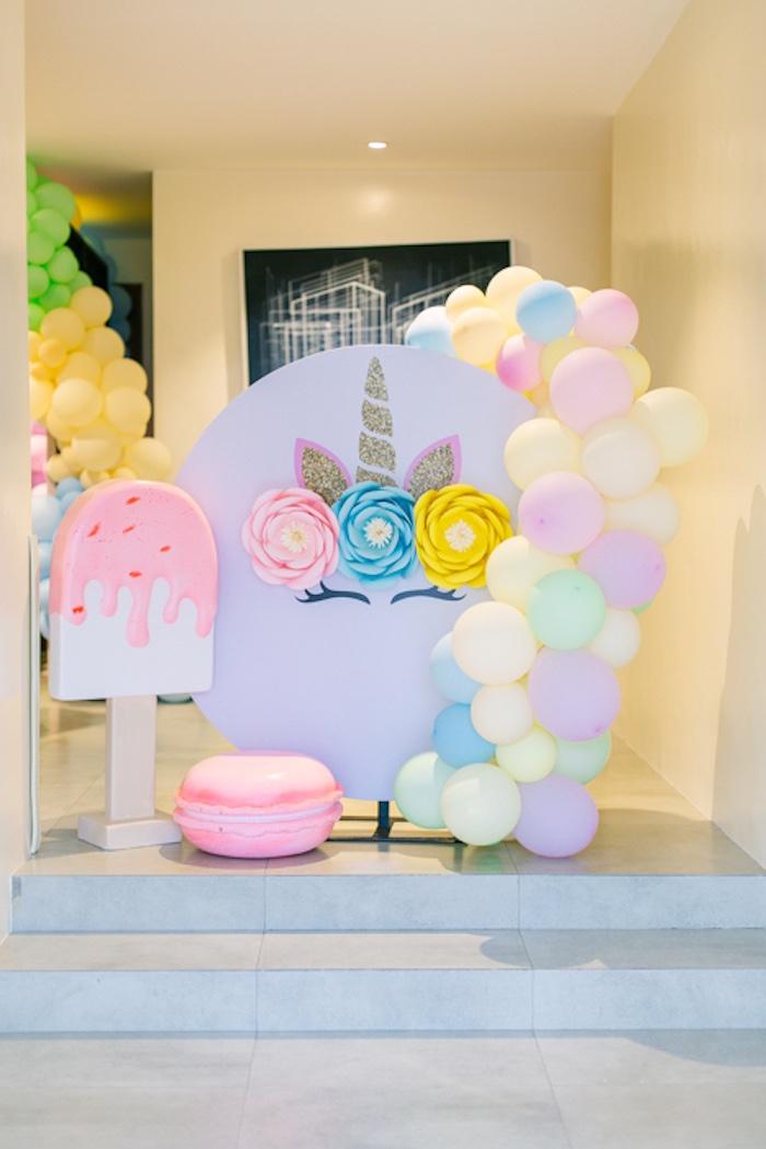 Unicorn Backdrop + Sweet Props from a Sweets & Unicorns Birthday Party on Kara's Party Ideas | KarasPartyIdeas.com (16)