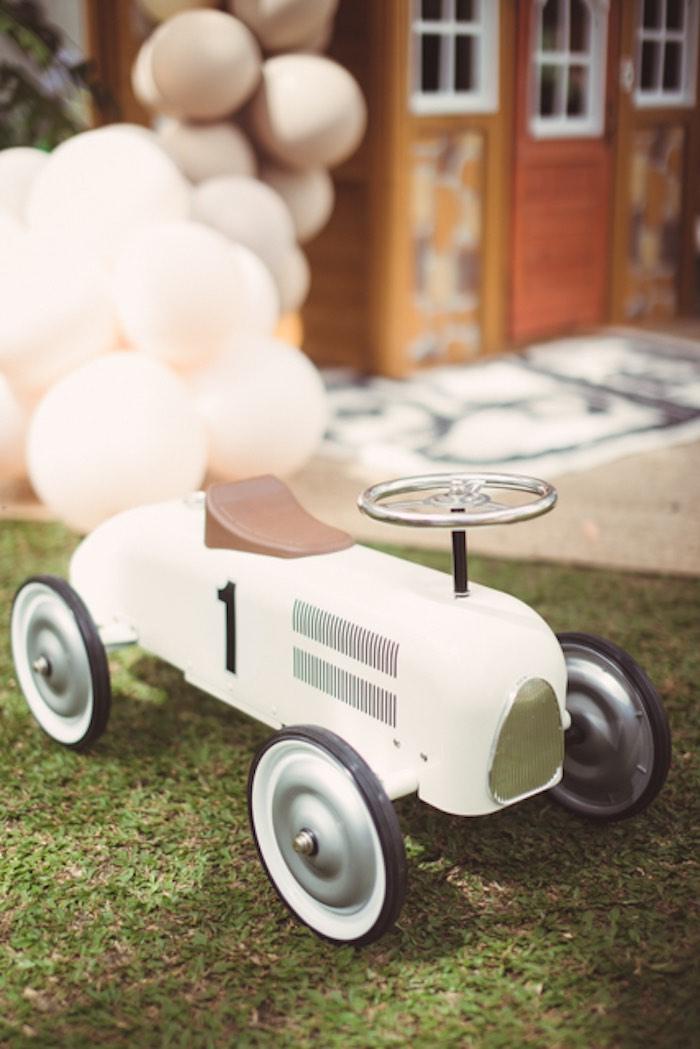 Vintage Toy Race Car from a Tan Monochromatic Birthday Party on Kara's Party Ideas   KarasPartyIdeas.com (16)