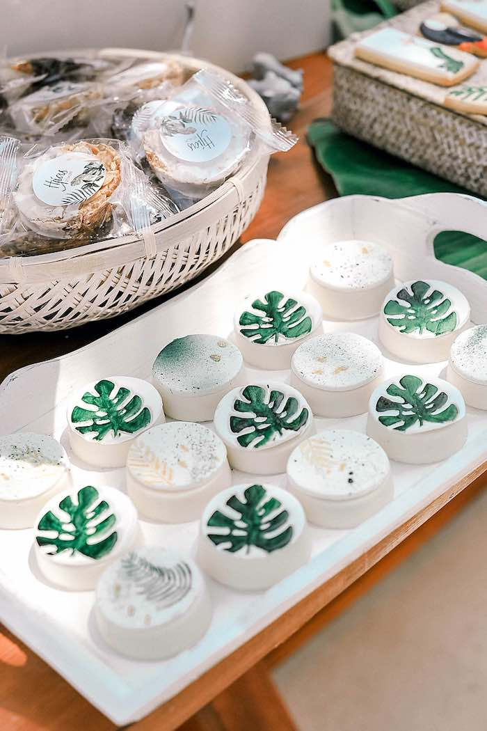 Tropical Leaf Oreos from a Tropical Baptism Party in Rhodes on Kara's Party Ideas | KarasPartyIdeas.com (32)