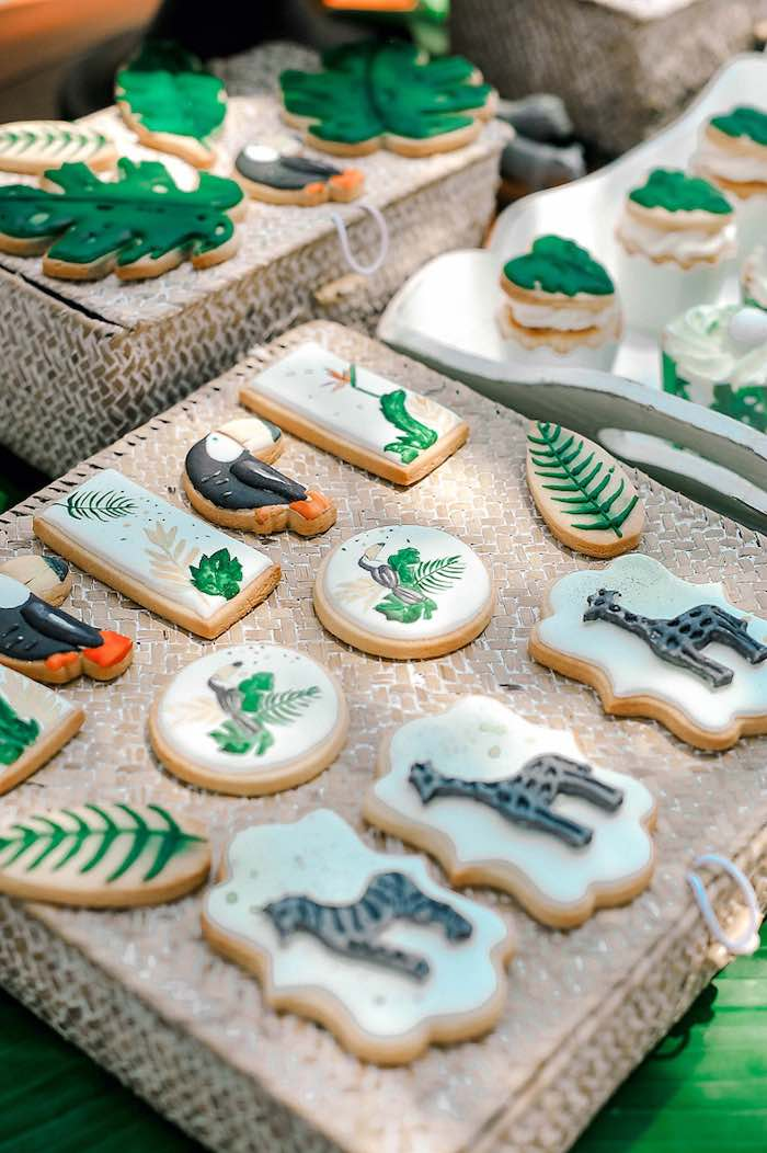 Tropical + Jungle Animal Cookies from a Tropical Baptism Party in Rhodes on Kara's Party Ideas | KarasPartyIdeas.com (31)