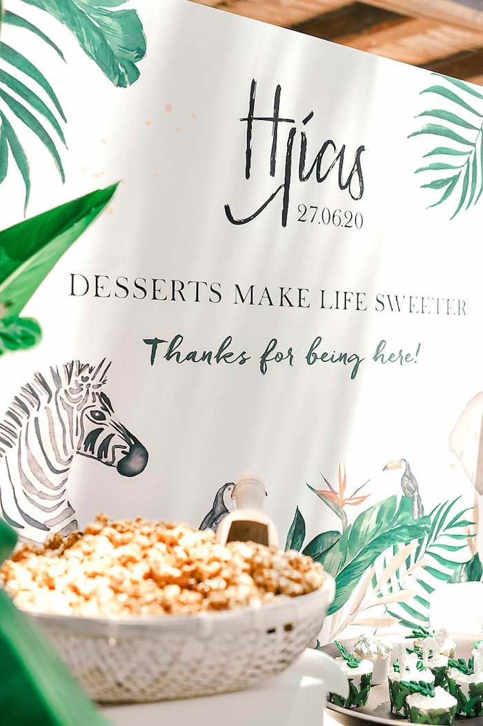 Tropical + Jungle Dessert Table Backdrop from a Tropical Baptism Party in Rhodes on Kara's Party Ideas | KarasPartyIdeas.com (30)