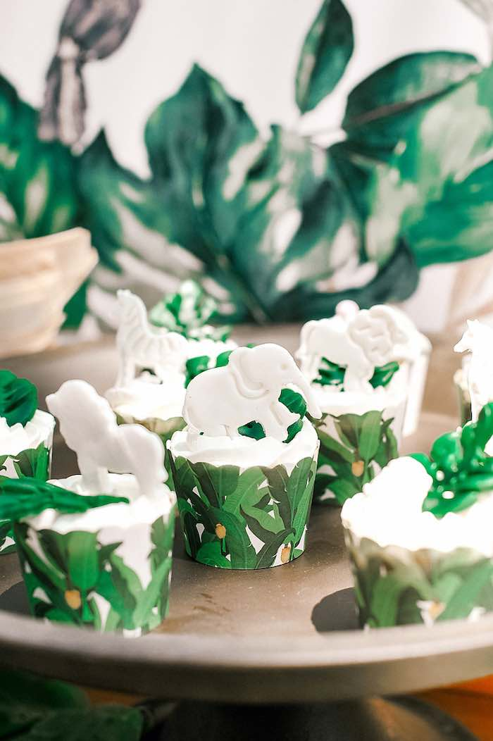 Jungle Animal Cupcakes from a Tropical Baptism Party in Rhodes on Kara's Party Ideas | KarasPartyIdeas.com (29)