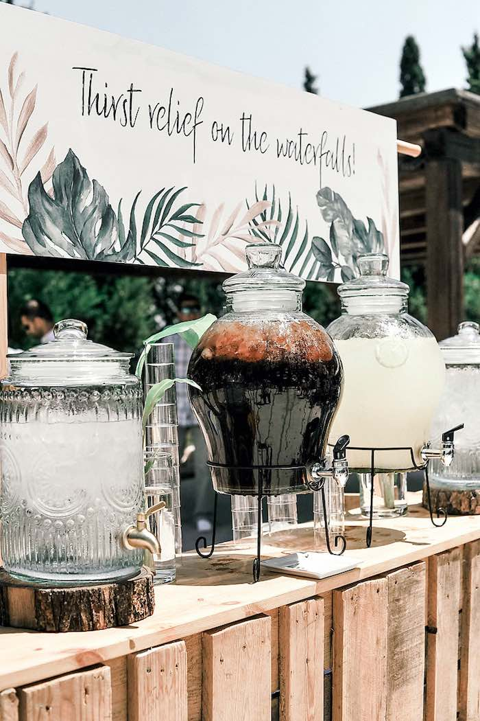 Beverage Station from a Tropical Baptism Party in Rhodes on Kara's Party Ideas | KarasPartyIdeas.com (26)